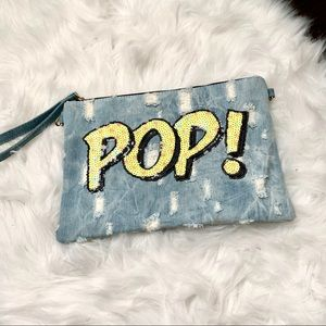 Handbags - Denim sequin clutch - new, never used.